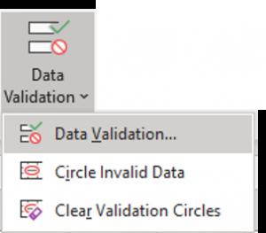 data validation prabas ms office